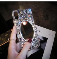 iphone shell diamant rouge achat en gros de-Strass miroir iphoneX téléphone mobile shell femme appliquer oppo personnalité créative bricolage nouvelle luxe in vivo net rouge plein diamant