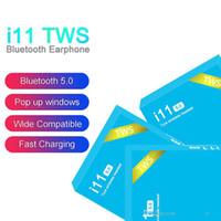 auricular de control azul al por mayor-i11 TWS inalámbrica Bluetooth 5.0 para auriculares de control táctil Con ventana pop-up de los gemelos Mini botón de los auriculares para el teléfono Android Blue Box DHL