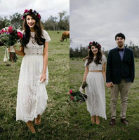 Wholesale two piece wedding dresses online - Romantic Lace Two Pieces Boho Wedding Dresses Modest With Short Sleeves Vestidos De Noiva Vintage Tea Length Bridal Gowns