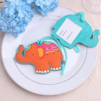 ingrosso i tag dei bagagli favoriscono-50 PZ Lucky Elephant Etichetta per bagagli Baby Shower Bomboniere Regalo per regali di nozze Bagagli aerei Regali creativi RRA1909