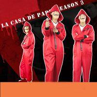 La casa de papel Season 3 2019 new Dali red jumpsuit clown costume halloween cosplay,Gift mask