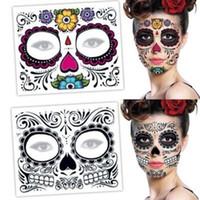 ingrosso adesivo temporaneo del tatuaggio-Sticker trucco facciale speciale Viso impermeabile tatuaggio del giorno dei morti Skull Dress Face Up Halloween autoadesivi provvisori del tatuaggio