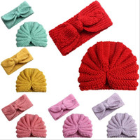 Wholesale crochet rabbit hats resale online - Winter Skull Caps Kids Crochet Cap Outdoor Baby Beanie Rabbit Ear Headband Girls Wool Knitted Hats Hairbands Hat Headgear Accessories A6825
