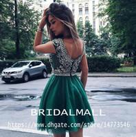 olivgrünes perlenpartykleid großhandel-Süße Perlen Kristalle Dunkelgrün Kurze Heimkehr Kleider 2020 Rundhalsausschnitt Tüll Formale Party Ballkleider Mini Kleines Cocktail Graduation Kleid