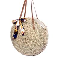 5f61e516e Tejido a mano de ratán redondo tejido a mano bolso de paja de moda bolso  hecho punto ocasional bolsa de hombro Summer Beach bufanda # 267647