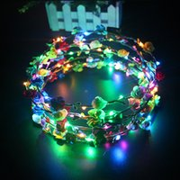 Wholesale style flower toy for sale - Group buy LED Light Flower Wreaths Bohemia Style Wedding Party Bride Children Headwear Decor Glow Floral Crown Beach Holiday Garland Hot Sale