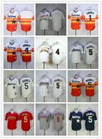 camisetas de beisbol naranja en blanco al por mayor-Camisetas de Astros baratas En blanco / 1 # CORREA / 4 # PRIMAVERA / 5 # BAGWELL Blanco naranja oscuro azul gris Camisetas de béisbol Camiseta cosida de calidad superior