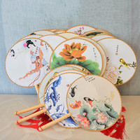 Wholesale chinese fan dance props for sale - Group buy Chinese Vintage Round Hand Fan Retro Wedding Party Gift Fan Classical Dance Fans Flower Print Chinese Fans Dance Prop VT1048