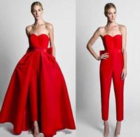 çıkarılabilir etekler toptan satış-2019 Krikor Jabotian Mütevazı Kırmızı Tulumlar Wdding Elbiseler Ile Ayrılabilir Etek Straplez Gelin Kıyafeti Gelin Parti Pantolon Kadınlar için Özel Yapılmış
