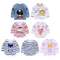 Wholesale striped t shirts for kids resale online - 2019 Spring Autumn For Years Children Cotton Striped Color Patchwork Cartoon Animal Baby Kids Boys Long Sleeve T Shirts