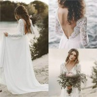 Wholesale white backless summer dresses for sale - Beautiful Long Sleeve Backless Wedding Dresses Lace Summer Country Boho Bohemian Ball Bride Marriage robe de mariée Plus Size Bridal Gown