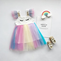 vestido de malla bordada al por mayor-Ins Newgirls Ropa vestido Pestañas bordadas BLING lentejuelas mangas voladoras arco iris malla princesa Vestido Verano niña Ropa Vestido