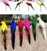 ingrosso ornamenti da giardino animale-25 / 35cm Handmade Simulazione Pappagallo Creativo Feather Lawn Figurine Ornament Bird Bird Garden Prop Decorazione