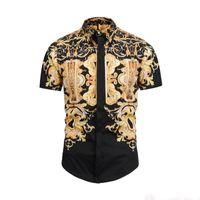 camisas de leopardo de los hombres al por mayor-2019 Camisas de vestir de los hombres Francia High Street Fashion Harajuku Camisa Casual Hombres Medusa Negro Oro tigre leopardo Fancy Slim Fit camisas