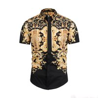 ingrosso beige leopardo-Camicie da uomo 2019 Francia High Street Fashion Harajuku Camicia casual da uomo Medusa Black Gold tiger leopard Fancy Slim Fit Camicie