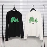 hop pink t shirts achat en gros de-Hip Hop Palm Angels T-shirt Automne Streetwear Rose Vert Broken Bear Injection Directe Numérique Palm Angels T-shirt À Manches Longues