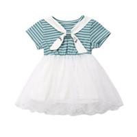 девочки платье пачки лоскутное одеяло оптовых-Cute Toddler Kids Baby Girl Striped Patchwork Tutu Tulle Princess Girls Summer Dress Sundress Clothes