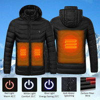 Wholesale mens ski jackets for sale - Group buy S XL USB Electric Heated Jackets Mens Down Cotton Winter Outdoor Women Coat Heating Hooded Jacket Warm Thermal Clothing Skiing