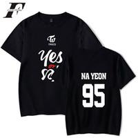 Wholesale korea plus size clothing online - t shirt TWICE YES OR YES In Men harajuku T shirts Print Twice Abum Korea Knop Tshirt Summer Top Tees Clothing plus size