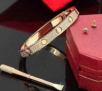 Wholesale designer bags out resale online - Luxury Full Diamond Stainless Steel Bracelet Fashion Womens Mens designer Love iced out Bracelets Cuff Bangles Screwdriver Jewelry with bag