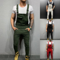 hohe mode herren overalls großhandel-Herren Jeans High Street Pockets Jeans Herren Mode Slim Fit Denim Overalls Modish Strap Overalls Lässige Hosenträger Distressed Jeans Pant