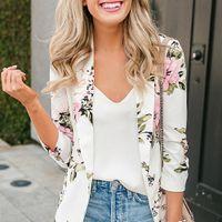 blazer feminino toptan satış-Zarif Blazer Feminino Kadınlar Çiçek Uzun Kollu Blazer Çentikli Yaka Ceket Kadın Giyim SH19062702