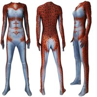 ingrosso pelle cosplay-Asian Size 3D Donne Predator Superhero Cosplay Catsuit Costume Lycar Spandex Partito Zentai Tuta Battle Skin Tuta