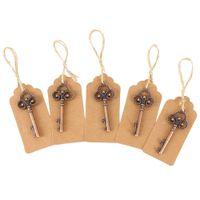 ingrosso decorazioni della bottiglia di birra-50pack Apribottiglie chiave con tag Carte Beer Bottle Opener favore di cerimonia nuziale di scheletro a Rustic la decorazione del partito