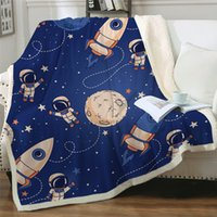 Wholesale space beds for sale - Group buy Rocket Ship Bed Blanket Blue Sherpa Fleece Throw Kids Outer Space Plush Bedding Astronauts Planets Stars cobertor