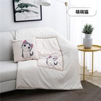 katzen quilts großhandel-White Lovely Cat Liner Kissen Quilt Home Sofa Throw Pillowcase Kissenbezug Kissenbezug Decor Kissenbezug Blank Christmas Decor Geschenk
