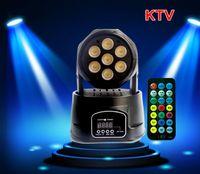 led mini sahne lekeleri toptan satış-Dj Ekipmanları 7X10W RGBW LED Mini DMX512 Kontrol Disko DJ Noel Partisi Etkisi DHL Karıştırma Kafası Işıklar Işın Nokta Yıkama Sahne Aydınlatma Hareketli