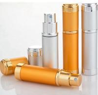 pulverizadores de perfume de aluminio al por mayor-5 ML Aluminio Pulverizador Botella de Perfume de Cristal Transparente Botella de Aerosol de Viaje Portátil Envases Cosméticos Vacíos Con Pulverizador de Aluminio RRA965