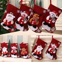 tecido meias natal venda por atacado-Grande meias do Natal de Santa Elk Tecido presente Meias de Natal saco bonito presente para as crianças Lareira Decoração da árvore de Natal