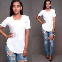 neue hemdentwürfe für frauen großhandel-Mode Top Qualität Baumwolle Cut Mops Print Frauen T-Shirt Casual Oansatz Frauen T-Shirt Neue Design Frau T-shirts Weiblich