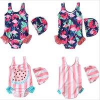 ingrosso le neonate nuotano i vestiti-Costumi da bagno per bambini Swan Ruffle Girls Costumi da bagno per bikini Baby Flamingo Costume da bagno floreale Costumi da bagno a righe Cartoon Tankini Fashion Rompers B5206