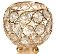 linternas votivas al por mayor-Crystal Votive Candle Bowl para la decoración del hogar Mesa de la boda Centros de mesa Marroquí Vela Linterna Tealight Vela Tarro Candelabra 8 cm