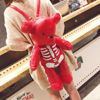 Wholesale hip hop fashion style for girls for sale - Group buy HOCODO Punk Style Fashion Female Backpack PU Personality Girl Backpack Suitable For Teenagers Gifts Skeleton Bear