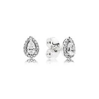 ingrosso orecchino di goccia 925 cz-Tear drop CZ Diamond Stud EARRING Scatola originale per Pandora Orecchini in argento sterling 925 Set per gioielli da donna