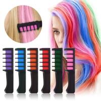 salon haarfarben großhandel-Einweg-Pro persönlichen Gebrauch Haar-Kreide Farbe Kamm Dye Kits Temporary Partei Cosplay 6 Farben Salon Haare Färben Werkzeug