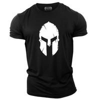 camisetas divertidas de gimnasia al por mayor-Spartan Helmet UK Culturismo Camiseta Gimnasio Ropa Chaleco Entrenamiento Motivación Streetwear Camisetas con estampado divertido Camisetas de manga corta