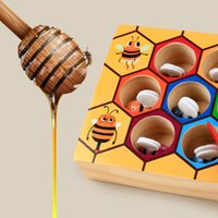 Wholesale baby toddler toys online - Preschool Wooden Toys Baby Early Toddler Game Hardworking Bee Picking Catching Practices Colorful Beehive Colors Distinguish sx F1