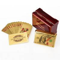 Wholesale gold playing cards dollar for sale - Group buy Gold Foil Dollar Poker card Euro Playing Cards Waterproof Pound Pokers With red Box For Gift Collection