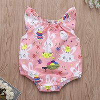 Wholesale Baby Bunny Rompers Headbands Rabbit Floral Pineapple Elastic Oneies Triangle Ribbon Lace Tassel Bow Easter Day Jumpsuits Kids Girls Romper