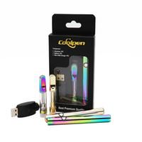için en iyi vape kalemleri toptan satış-En iyi kalite Gökkuşağı Altın Renk Vape Kalemler Başlangıç Kitleri Balmumu Yağı Seramik Bobin Tankı Ön Isıtma 350 mAh 510 Konu Değişken Gerilim Ücretsiz nakliye