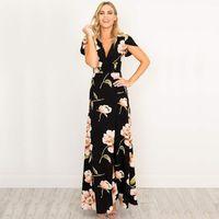 Wholesale mother bride printed dresses resale online - Women Dresses V Neck Maxi Dress Black Floral Printed Party Dress Mother Of Bride Dresses Female Ws647c
