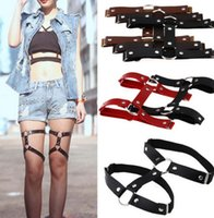 Wholesale double harness rings online - 2019 new Sexy Handmade Punk Rock Goth metal Double Row Leather Garter Belts Leg Ring Multi Color Leg Harness Rivet Garter Belt