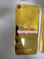 iphone plaqué or de diamant achat en gros de-pour iphone 7 et pour iphone7 plus or véritable plaqué or 24 carats de remplacement du boîtier d'origine avec cadre en diamant et cristal