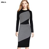 weißer bleistiftrock anzüge großhandel-Neues Muster Schwarzweiß Streifen Farbe Rundhals Langarm Bleistiftrock Anzug-Kleid Kleid