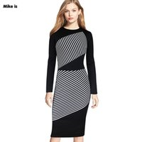 ingrosso black spandex pencil skirt-Nuovo modello in bianco e nero a righe color hit girocollo a maniche lunghe gonna abito abito-vestito