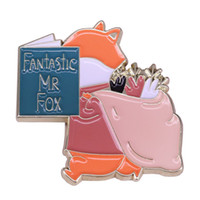 Wholesale fox brooches for sale - Group buy Fantastic Mr Fox reading badge funny literary pin cute crochet knit bag decor